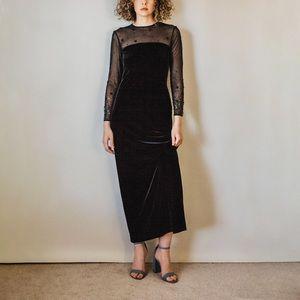 Vintage 90s Black Velvet Long-Line Formal Dress